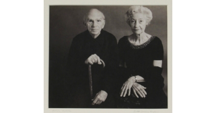 Black and white Polaroid print of the artist's parents, 1989 Caroline Vaughan  Gift of the Artist